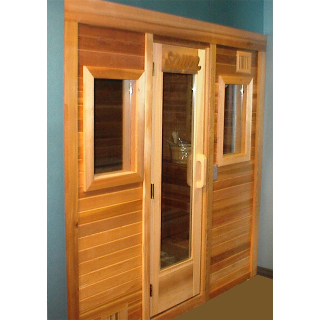 4 39 x6 39 freestanding pre fab sauna kit clear t g front for Home sauna