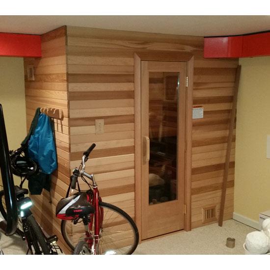 4 39 x6 39 home sauna kit diy precut sauna heater package for Building a sauna in the basement