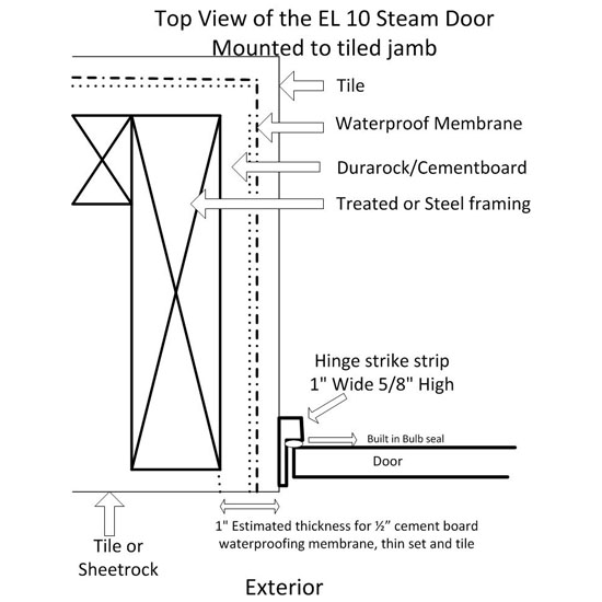 Steam Room Door El 10 Frameless Glass