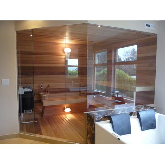 Custom Sauna Door With Glass Walls