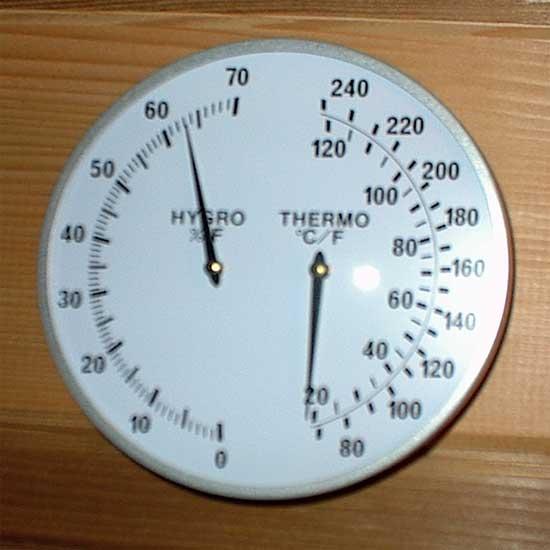 5 chrome sauna dual thermometer hygrometer. Black Bedroom Furniture Sets. Home Design Ideas
