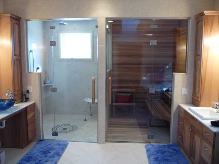Glass door wall and transom installation for shower room and sauna Back to back sauna and steam room shown in lower light ... & Eurolite EL-10 All Glass Door Wall + Transom | Clean lines and ...
