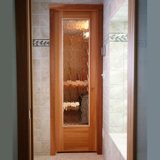 Residential sauna door 16 x67 rain glass window for 16 window