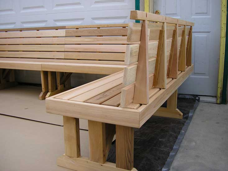 Cedar sectional benches End showing back, and mitered corners