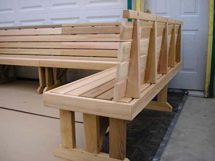 Wrap Bench wrap-around sectional cedar benches