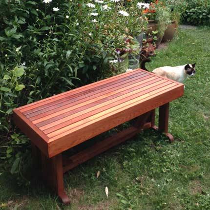 """18"""" x 42"""" Cedar Pedestal Bench"""