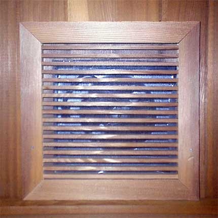 Sauna Exhaust Fan Cedar Grill Cover | Won't Warp from the Sauna Heat