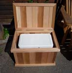 Single Storage Cedar Bench + Fits A Cooler