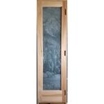 Custom Sauna Door + Etched Waterfall