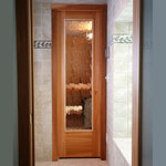 "Residential Sauna Door + 16"" x 67"" Rain Glass Window"