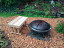 """36"""" bench shown here near fire pit"""