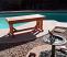 Cedar bench by pool in Phoenix
