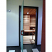 Glass sauna door, open to sauna room