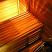 Bench facing illuminated by sauna light