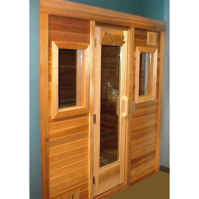 4\'x6\' Freestanding Pre-fab Sauna Kit + Clear T&G Front + Windows