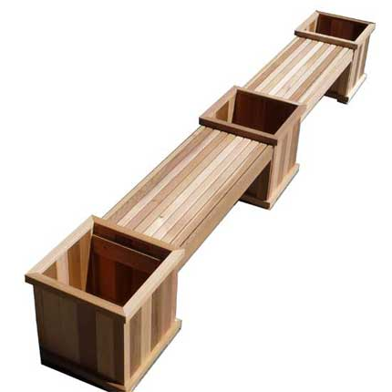Cedar Planter Benches in a Row