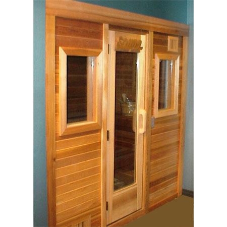 4'x6' Freestanding Pre-fab Sauna Kit + Clear T&G Front + Windows