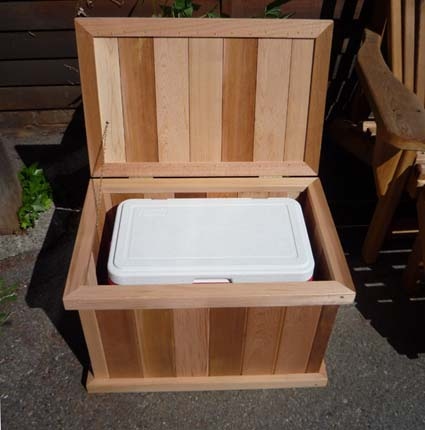 Single Storage Cedar Bench + Fits A Cooler