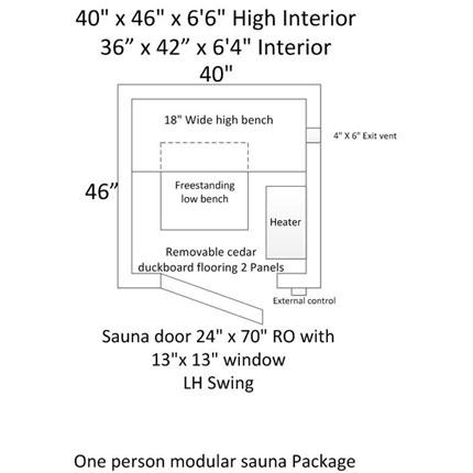 3'x4' Freestanding Pre-fab Sauna Kit + Heater + Accessories