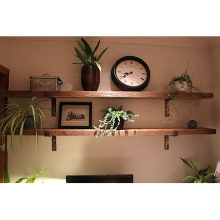 Rustic Cedar Shelves with Hand-forged Steel Brackets