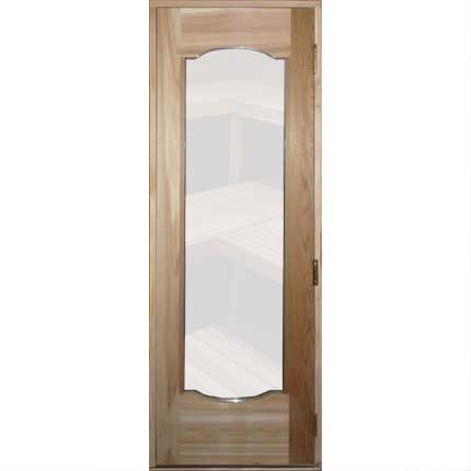 "Residential Scrolled Sauna Door + 16"" x 67"" Clear Glass Window"
