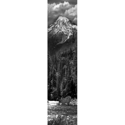 Etched Glass Mountain Scene
