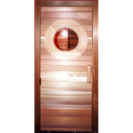 "Residential Sauna Door + 13""x13"" Round Window"