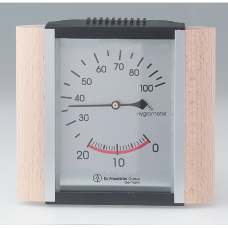 Sauna Hygrometer Wood Trim/Metallic Face