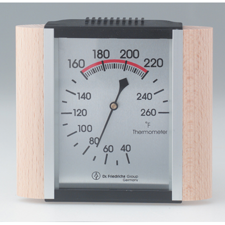Sauna Thermometer, Wood Trim/Metallic Face