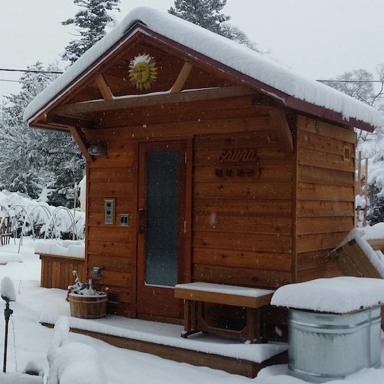 5'x7' Outdoor Pre-Fab Sauna Kit + 2' Roof Overhang + Heater + Accessories