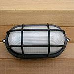 Sauna Flush Mount Marine Style Oval Light - Black