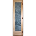 Custom Sauna Door + Etched Waterfall