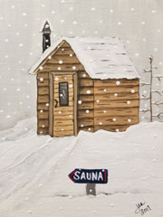 Sauna Winter Painting