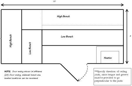 4 x 10 precut sauna for Sauna layouts floor plans