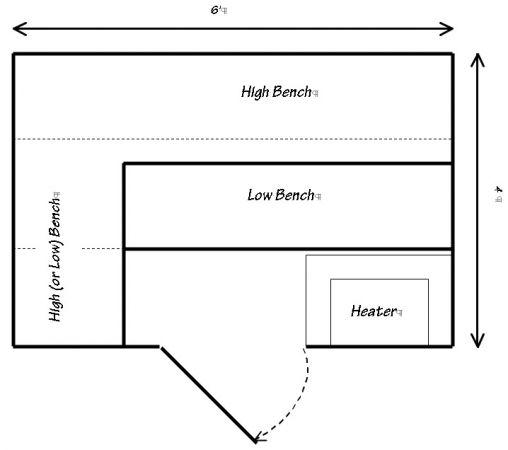 4 x 6 precut sauna for Sauna layouts floor plans