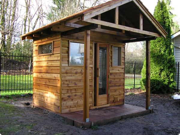 ... Sauna With Porch And Windows ...