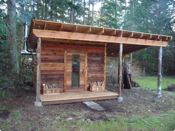 Naturally Weathered Cedar Sauna Modular Freestanding Sauna + Roof ...