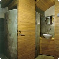 Stone and Wood Bath Entry