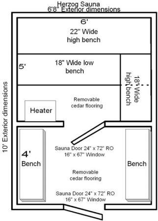4 x 4 modular sauna Sauna floor plans
