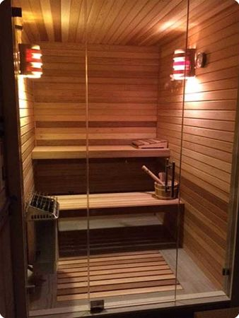 ... Home Sauna Kit With Glass Front Wall