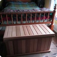 Storage bench in the bedroom